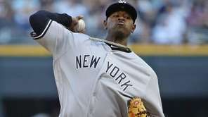 Luis Severino of the Yankees delivers against the White