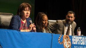 Hempstead school board president Maribel Touré and vice