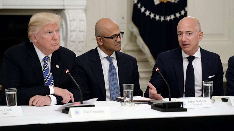 President Donald Trump meets with Microsoft CEO Stya