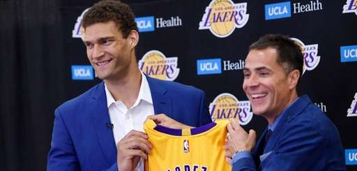 Brook Lopez, left, a new member of the