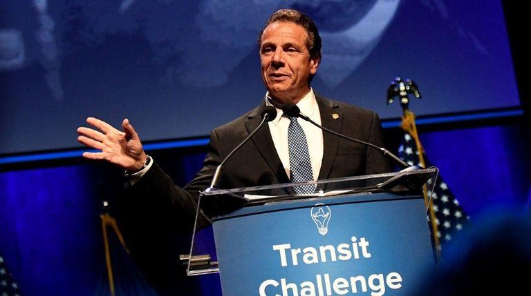 Gov. Andrew M. Cuomo speaks at an MTA