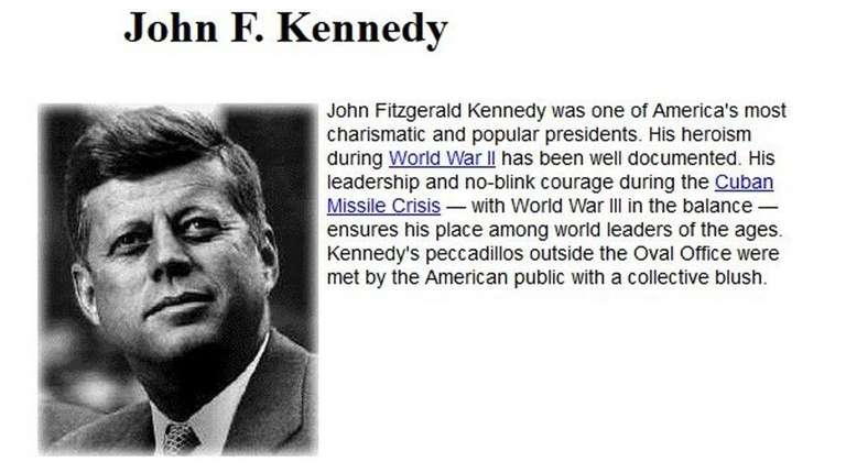 The United States History website has bios of
