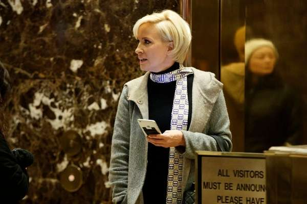 Mika Brzezinski in the lobby at Trump Tower