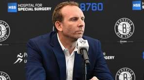 Nets GM Sean Marks during a news conference