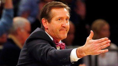 Jeff Hornacek of theKnicks reacts against the Hornets