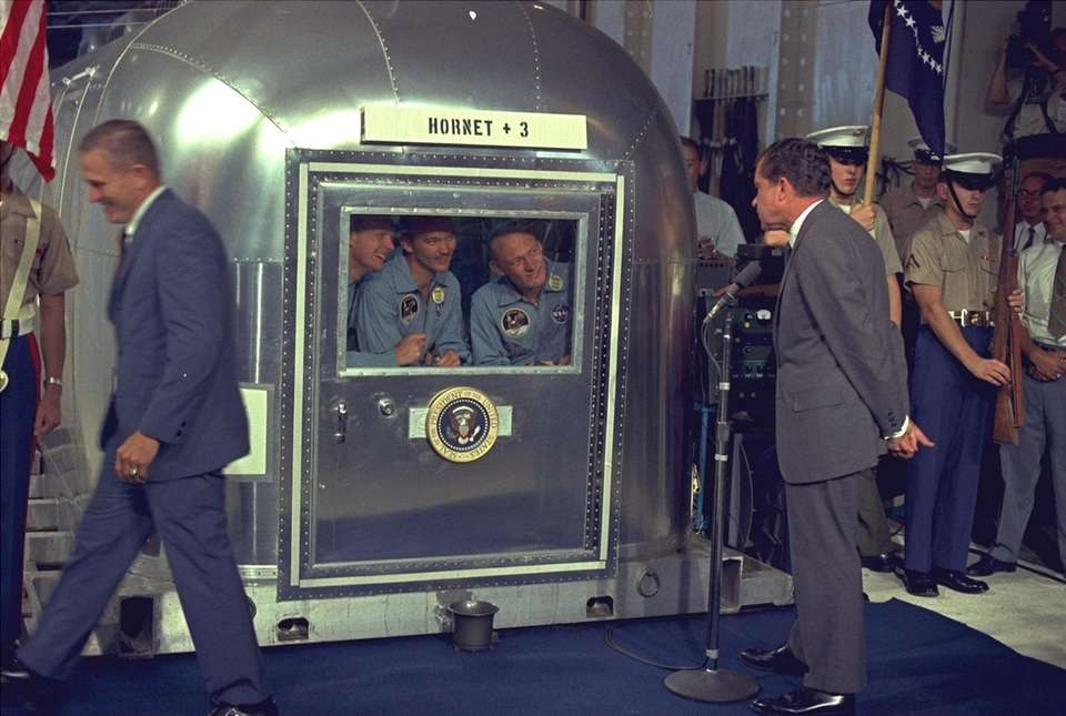 President Richard Nixon looks at the Apollo 11