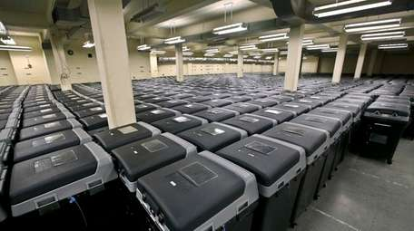 Voting machines stored by the Nassau County Board