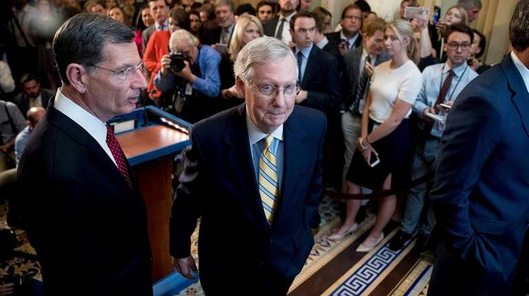Senate Majority Leader Mitch McConnell, R-Ky., joined by