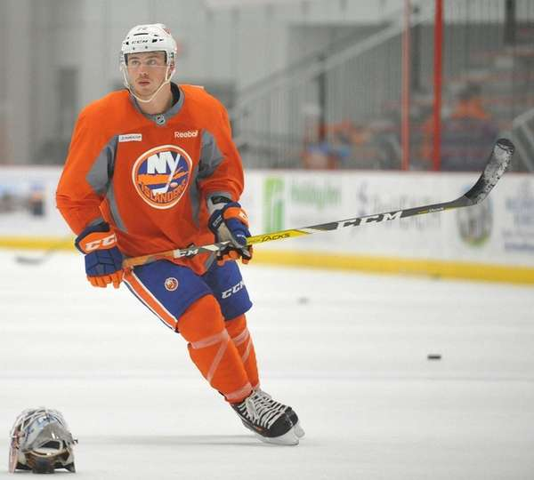 Anthony Beauvillier skates during Islanders prospect minicamp at