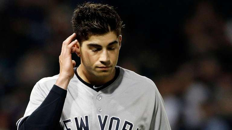 The Yankees' Tyler Wade reacts against the Chicago