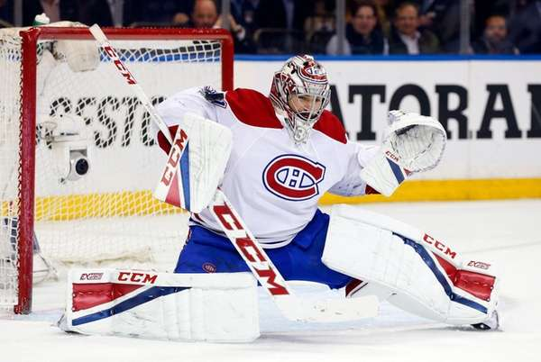 Carey Price #31 of the Montreal Canadiens makes