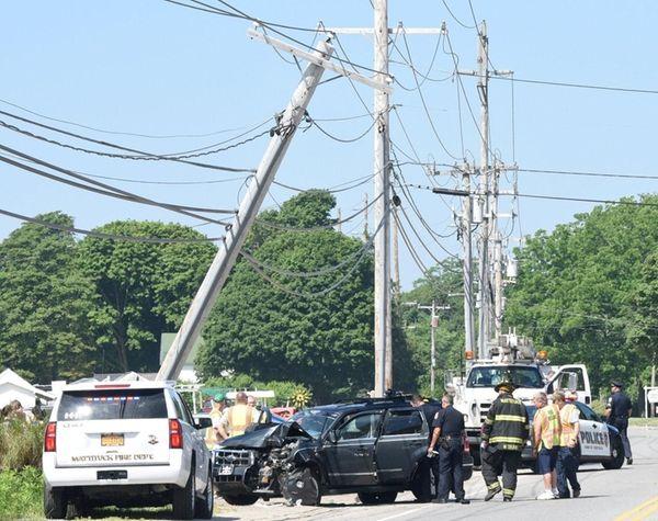 A Ford jeep crashed into a pole near