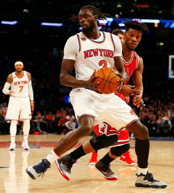 Maurice Ndour of the New York Knicks spins