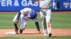 Phillies shortstop Freddy Galvis reacts after he