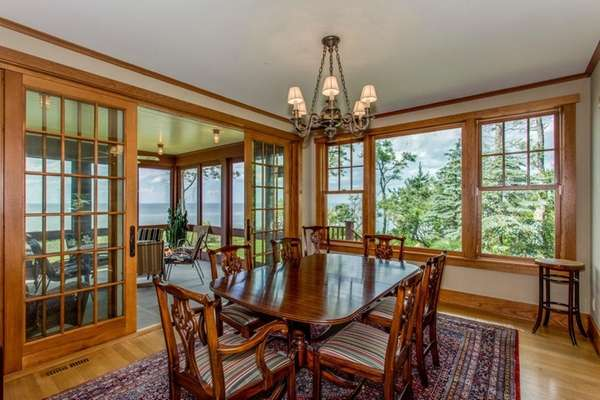 Mahogany accents are found throughout the three-bedroom, 3