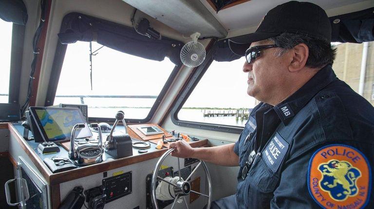 Nassau County Marine Bureau Officer Michael Shahinian keeps