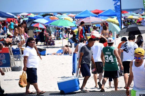 Jones Beach drew thousands of people on Tuesday,