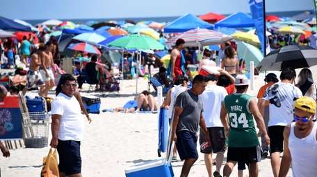 Jones Beach drew thousands of people on Tuesday,