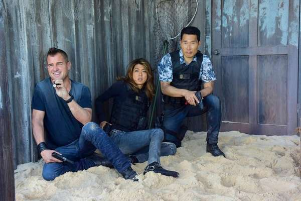 Actor George Eads, with co-stars Grace Park and