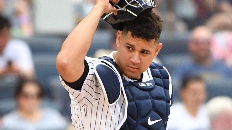 New York Yankees catcher Gary Sanchezagainst the Texas