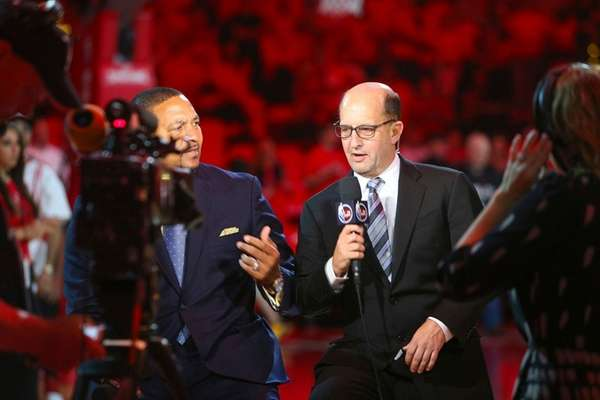 NBA basketball broadcaster Jeff Van Gundy works before