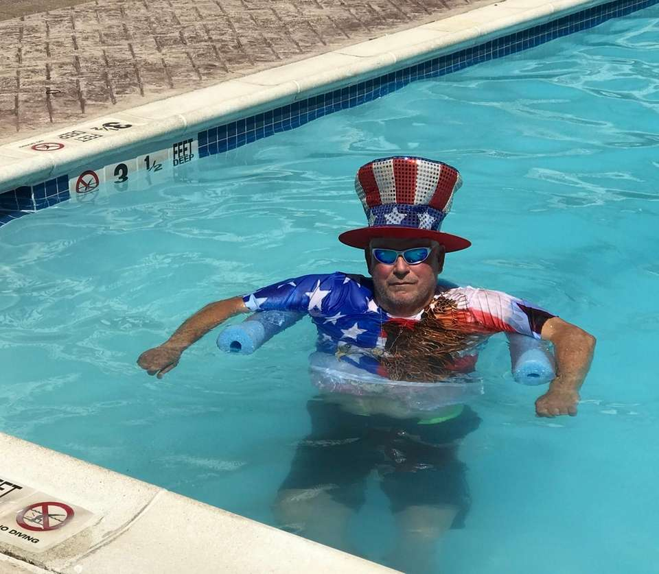 Hal Kramer showing the red white and blue