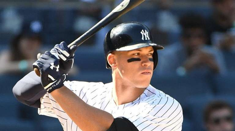 New York Yankees right fielder Aaron Judge looks