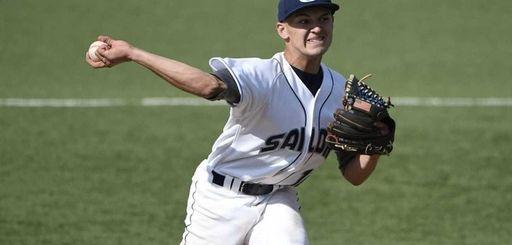 Oceanside High School starting pitcher Kyle Martin delivers