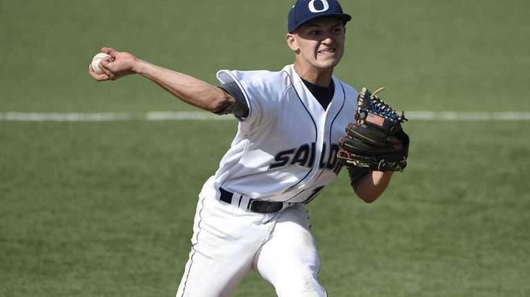 Oceanside High School starting pitcher Kyle Martin delivers
