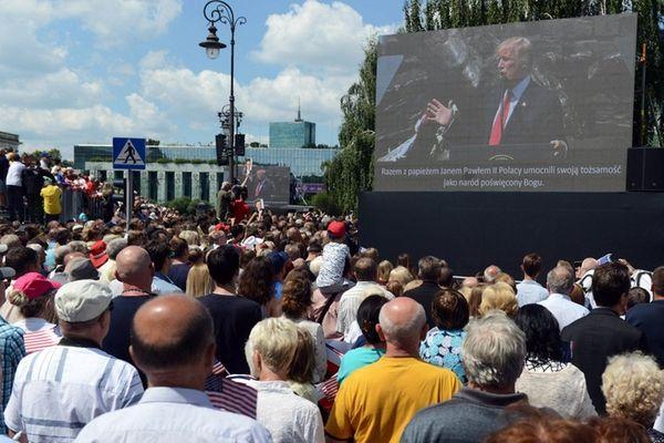 President Donald Trump speaks in Krasinski Square in
