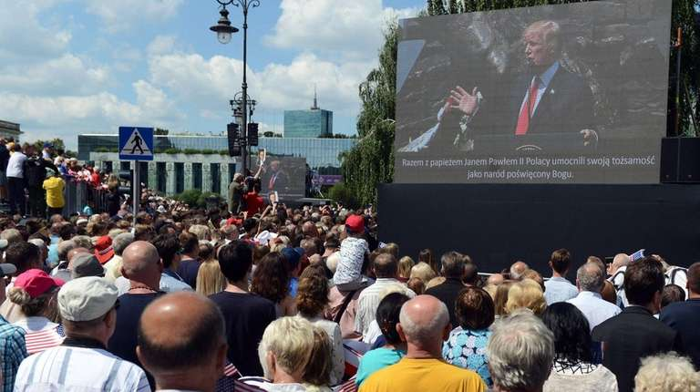 President Donald Trump speaks in Krasinski Square in
