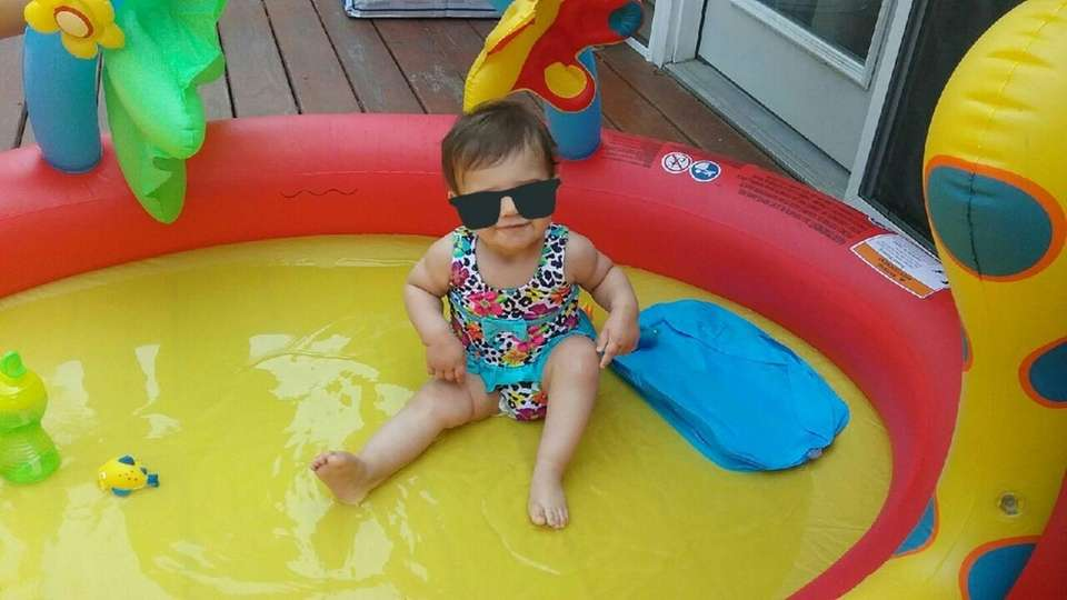 Relaxing in the pool.