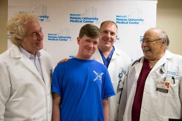 Devin O'Rourke of Levittown thanked doctors at Nassau