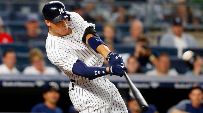 Aaron Judge of the Yankees connects on his