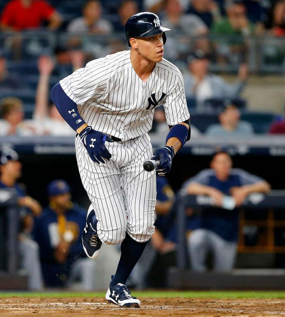 Aaron Judge of the Yankees runs out his