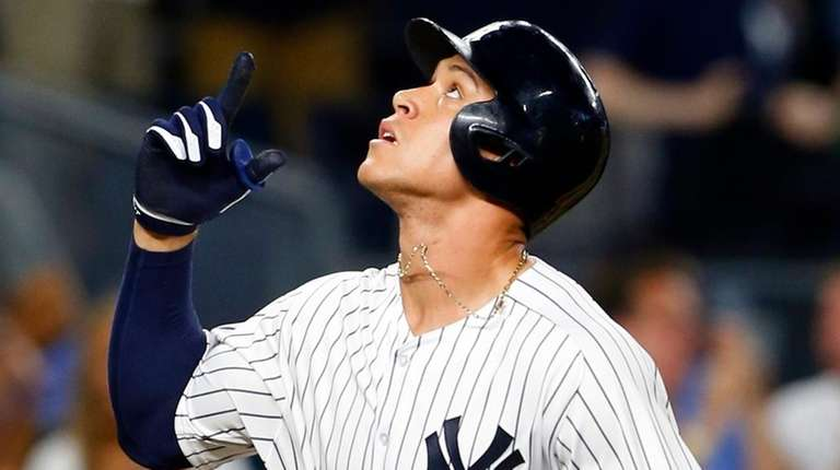 Aaron Judge of the Yankees celebrates his fifth-inning