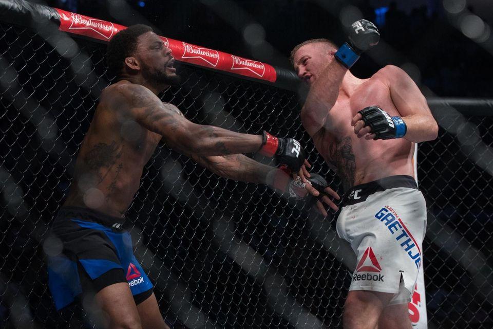 UFC lightweights Michael Johnson and Justin Gaethje fight
