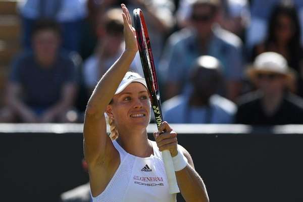 Angelique Kerber reacts after beating Shelby Rogers at