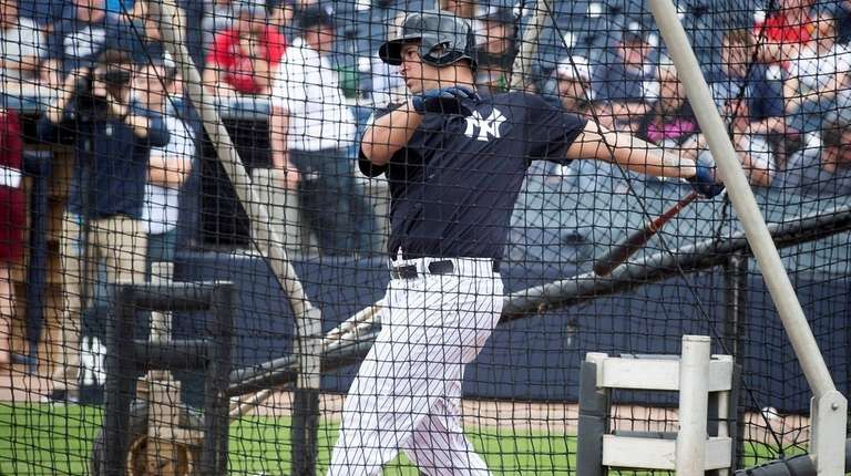 Gary Sanchez, here during batting practice on