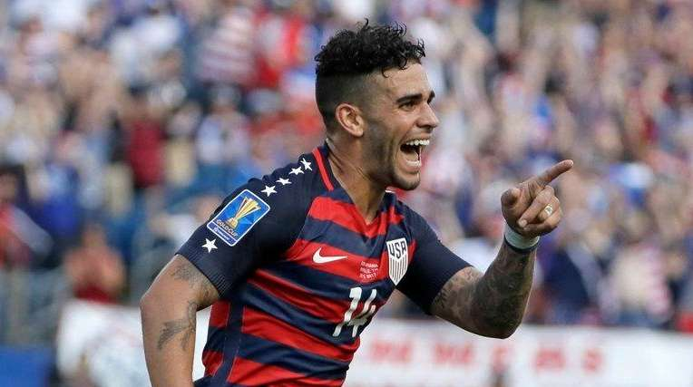 United States' Dom Dywer (14) celebrates after scoring