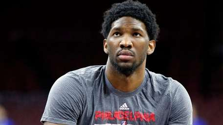 Philadelphia 76ers' Joel Embiid prepares to shoot during
