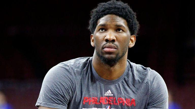 Philadelphia 76ers' Joel Embiid prepares to shoot during