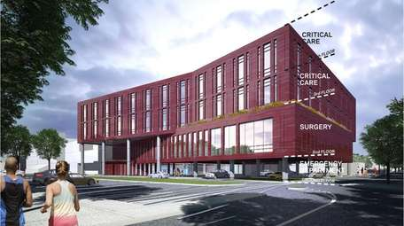 The proposed four-story southwest addition to the hospita's