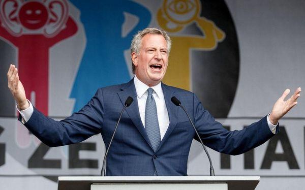 NYC Mayor Bill de Blasio, speaking at a