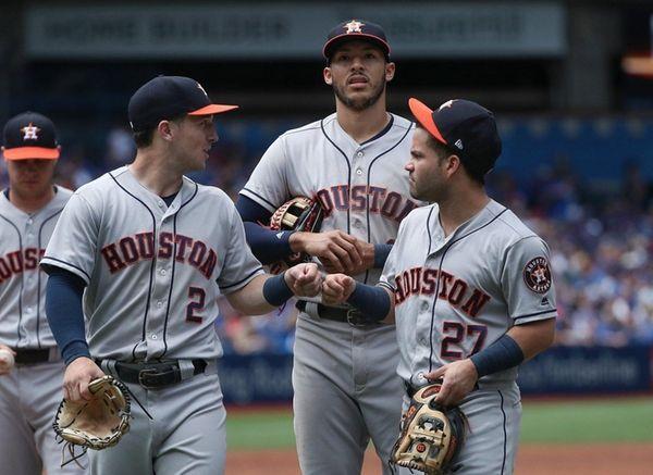 Alex Bregman #2 of the Houston Astros celebrates