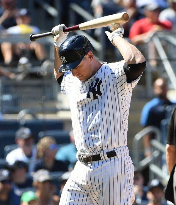New York Yankees third baseman Chase Headley reacts