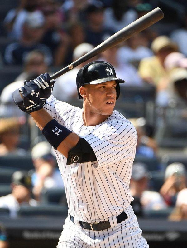 New York Yankees right fielder Aaron Judge looks