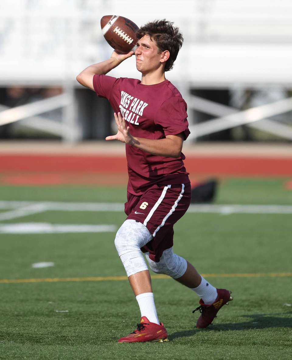 Kings Park's QB Kevin Decker gets ready to