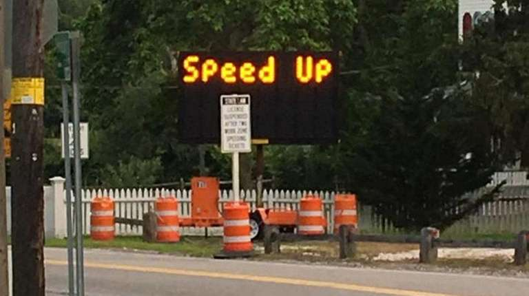 A road sign in Yaphank was apparently tampered