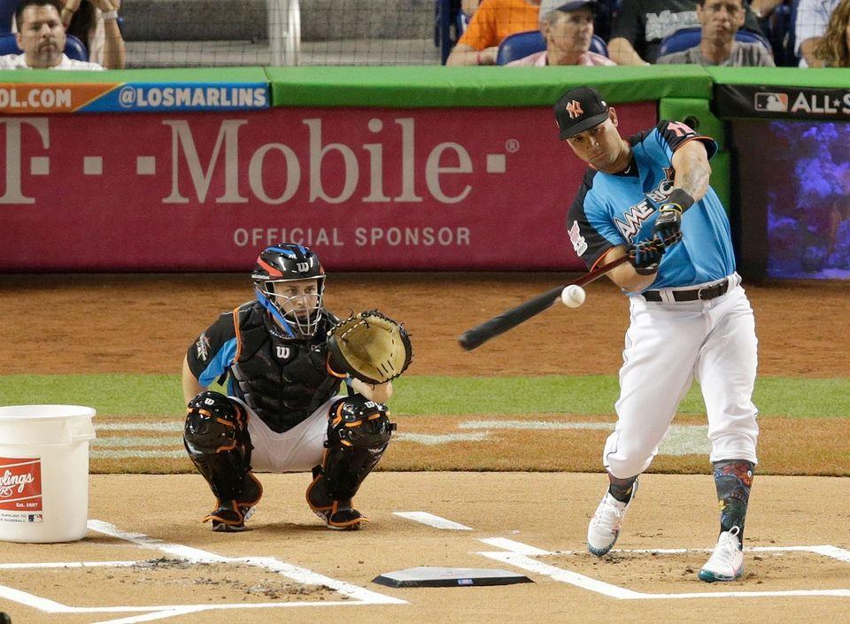 Yankees' Gary Sanchez competes during the MLB baseball